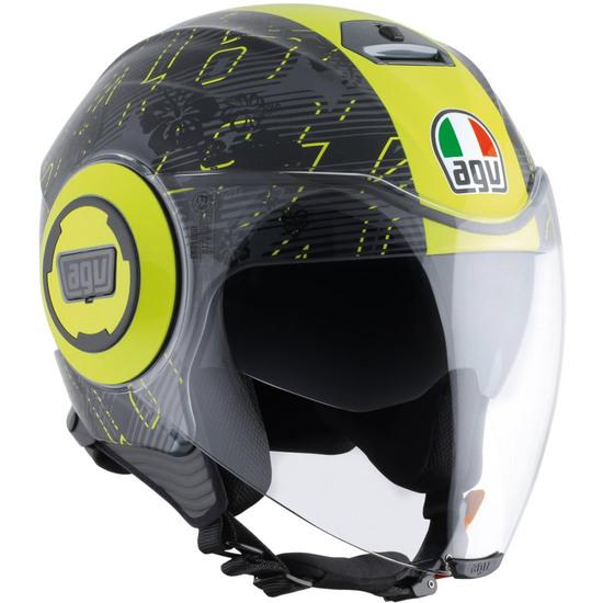Helm AGV Fluid Rossi Ibiscus Gunmetal / Yellow
