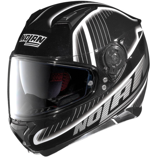 Casco NOLAN N87 Harp N-Com Metal Black / White