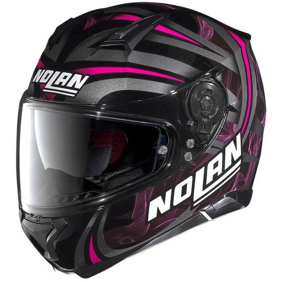 NOLAN N87 Ledlight N-Com Glossy Black Pink Helmet