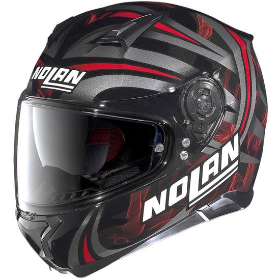 Casco NOLAN N87 Ledlight N-Com Glossy Black Red