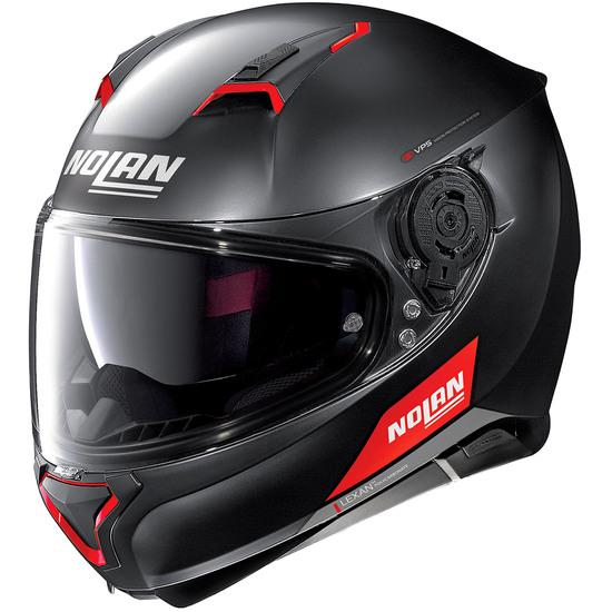 Helm NOLAN N87 Emblema N-Com Flat Black / Red