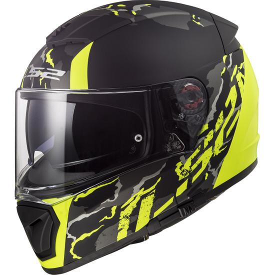 Helm LS2 FF390 Breaker Feline Matt Black H-V Yellow