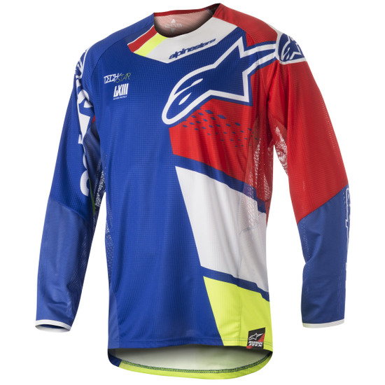 Camisola ALPINESTARS Techstar 2018 Factory Blue / Red / White / Yellow Fluo