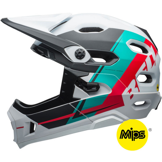 Casco BELL Super DH MIPS Matte White / Emerald / Hibiscus Recourse