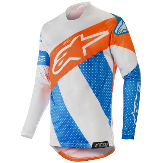 Jersey ALPINESTARS Racer Tech 2019 Atomic Cool Grey / Mid Blue / Orange Fluo