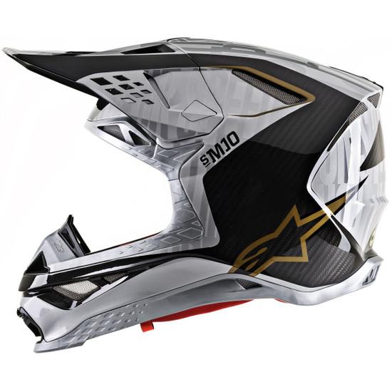 Helm ALPINESTARS Supertech S-M10 2020 Alloy Silver / Black Carbon / Gold