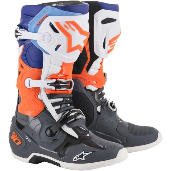 Botas ALPINESTARS Tech 10 Cool Grey / Orange Fluo / Blue / White