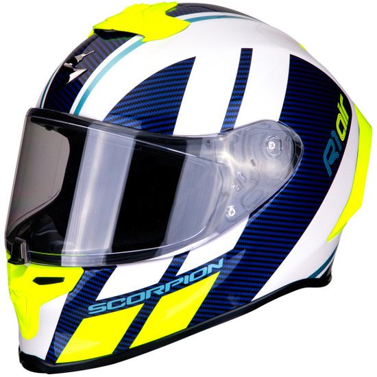Casco SCORPION Exo-R1 Air Corpus White / Blue / Neon Yellow