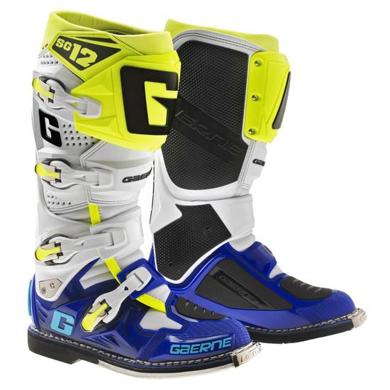 Stiefel GAERNE SG12 White / Blue / Yellow Fluo