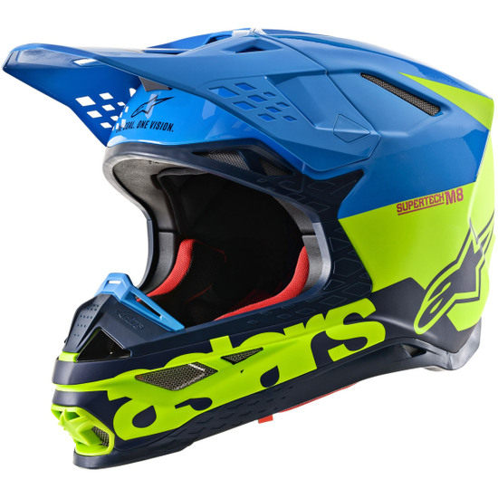 Casco ALPINESTARS Supertech S-M8 2020 Radium Aqua / Yellow Fluo / Navy