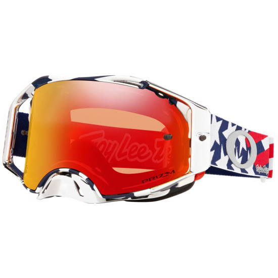Máscara / Gafas OAKLEY Airbrake MX Troy Lee Design Patriot Red / White / Blue Prizm Mx Torch Iridium
